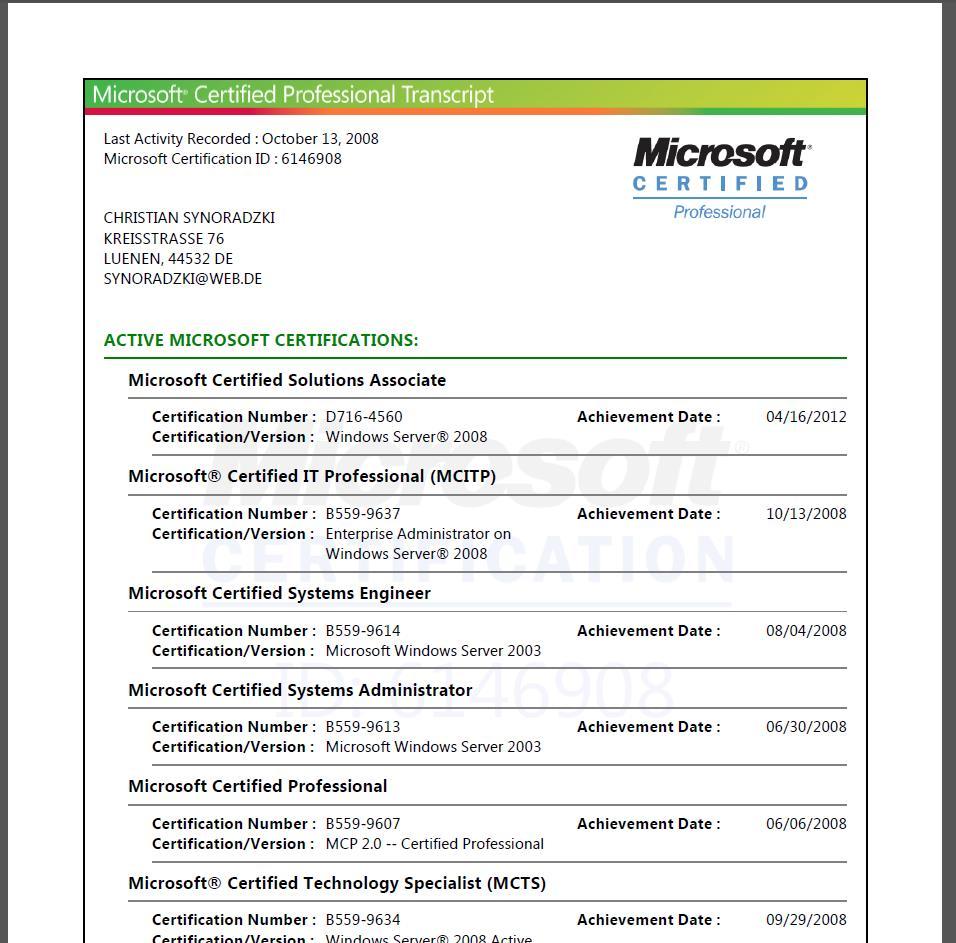 Microsoft Zertifikate