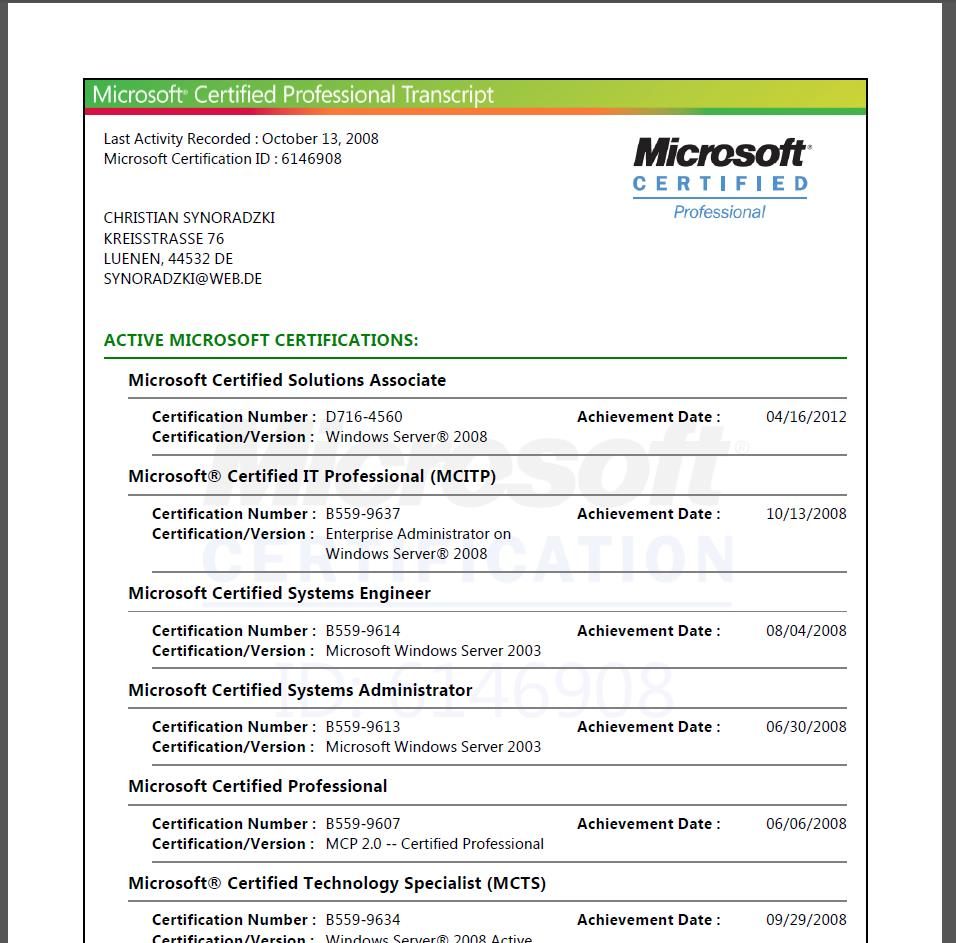 Microsoft Zertifikat