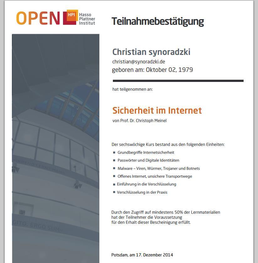 Sicherheit im Internet Zertifikat
