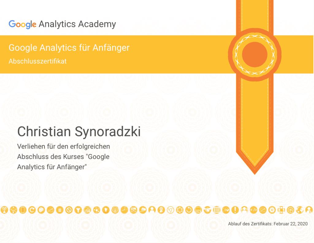 Analytics Zertifikat Anfänger