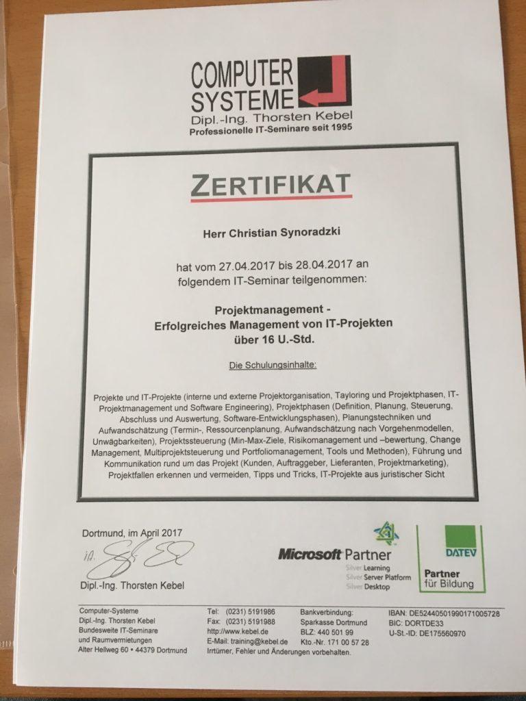 Projektmanagement Zertifikat