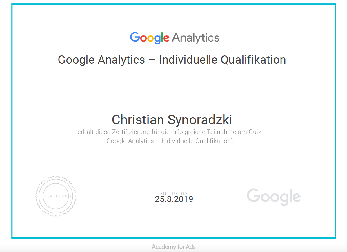 Analytics Zertifikat