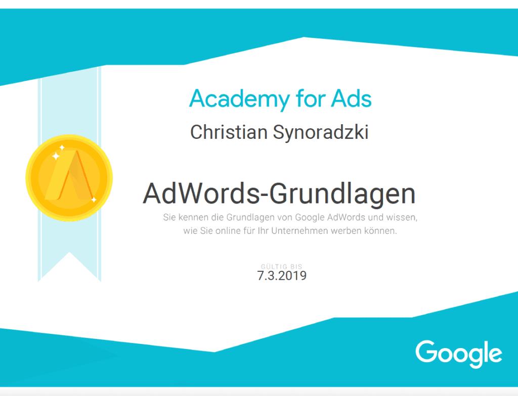 Adwords Grundlagen Zertifikat