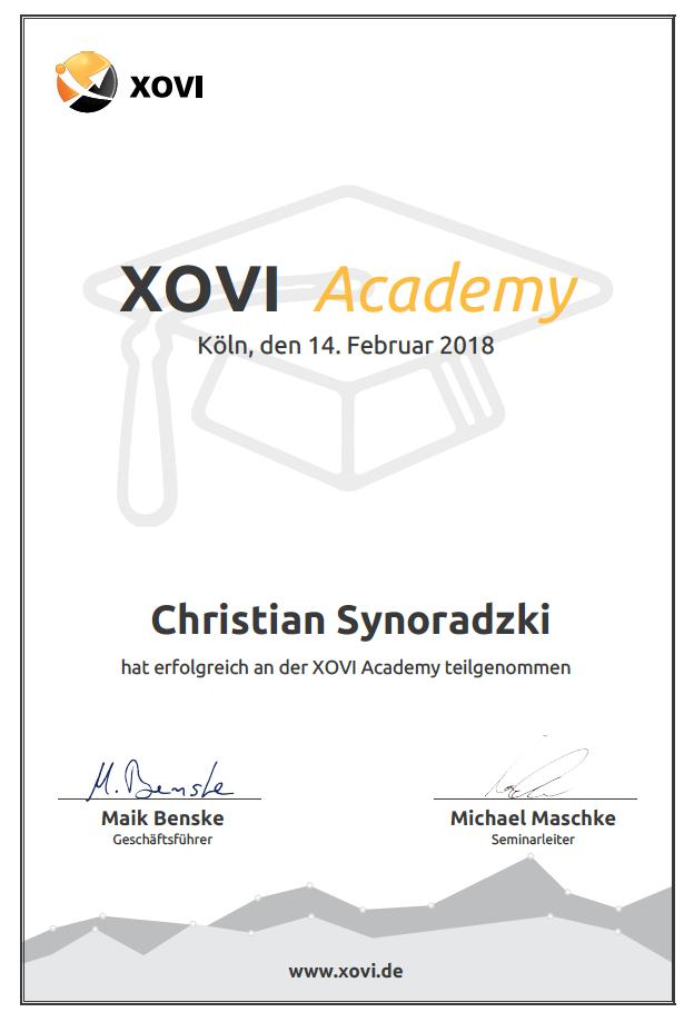 Xovi Zertifikat