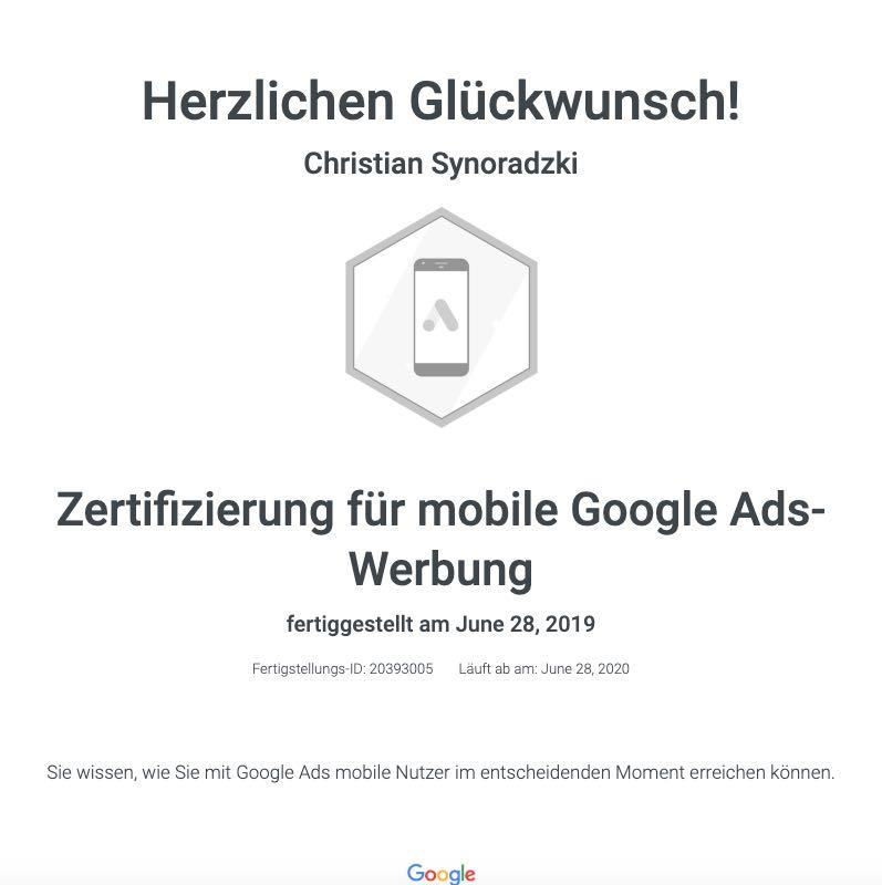 Zertifizierung mobile Google Ads Werbung
